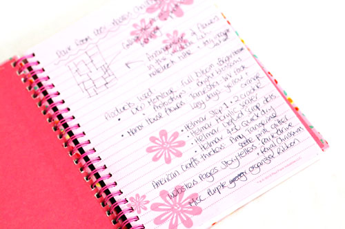 Product and inspiration notebook use